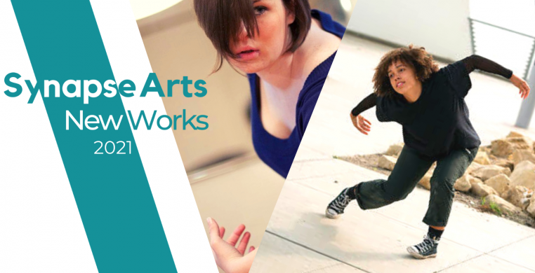 """A banner with blue and white text that reads """"Synapse Arts New Works 2021"""" on the center left of the banner. The right side of the banner shows two images of two different dancers."""