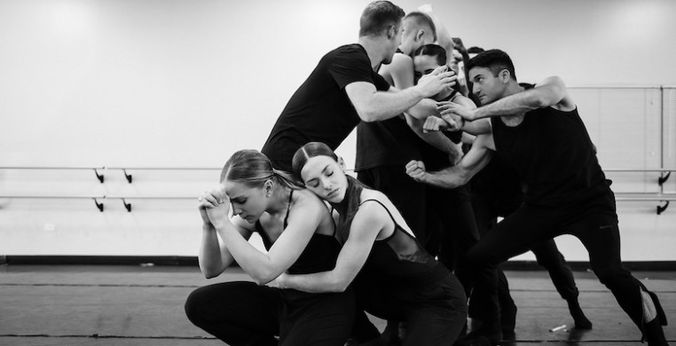 Giordano Dance Chicago in rehearsal for Peter Chu's new work, premiering this weekend at the Harris Theater. Photo by Anderson Photography.