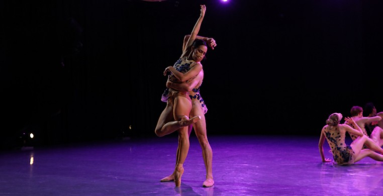 "Joffrey dancers Amanda Assucena and Alberto Velazquez in Nicolas Blanc's ""Under the Trees' Voices,"" a digital premiere screened April 30. Photo by Matt de la Peña."