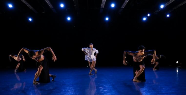 "The Joffrey Ballet's Anais Bueno (center) with Jonathan Dole, Blake Kessler, Jose Pablo Castro Cuevas and Hyuma Kiyosawa in ""Bolero"" (photo courtesy Joffrey Ballet)"