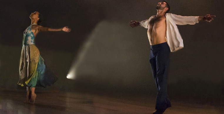"Cerqua Rivera dancers Briana Arthur and Fernando Rodriguez performing Wilfredo Rivera's ""American Catracho"" in 2019, excerpted for a live-streamed fall series that continues next month (photo provided)."