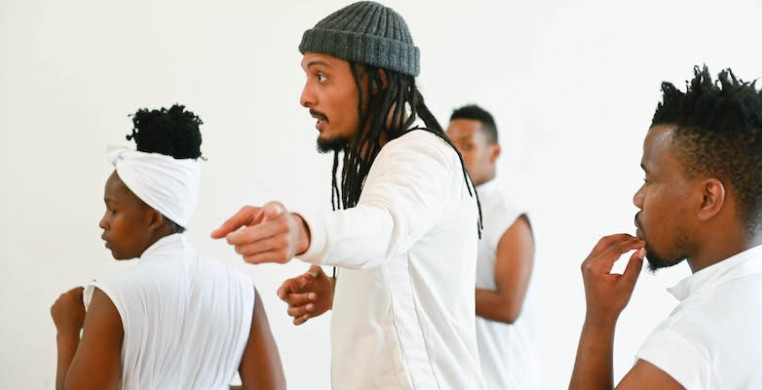 Mellon Artist in Residence Yaseen Manuel working with Flatfoot Dance Company. Manuel's two new dance films premiered at the 23rd JOMBA! Contemporary Dance Experience. Photo: Val Adamson.
