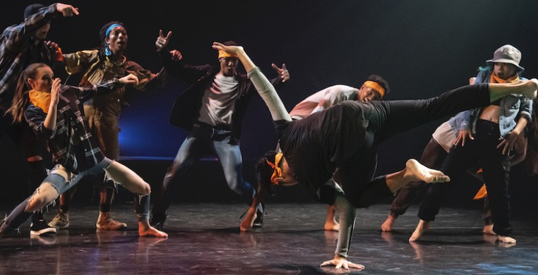Chicago Dance Crash dancers, from left Logan Howell, KC Bevis, Elijah Motley, Monternez Rezell, Diamond Burdine, Kristi Licera, and Jasper Sanchez (foreground) in Lil Pine Nut at the Ruth Page Center. Photo by Ashley Deran.