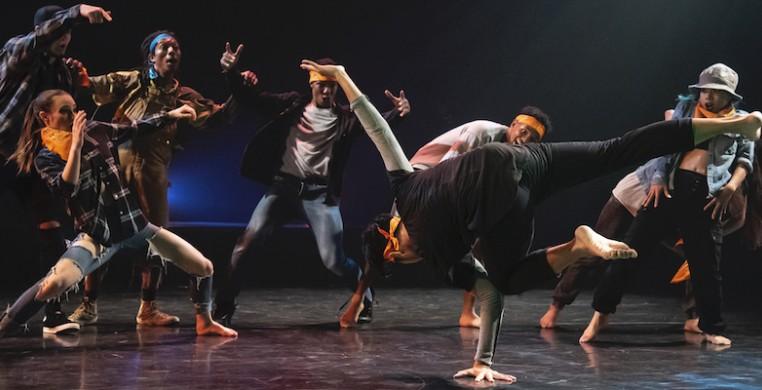 Chicago Dance Crash dancers, from left Logan Howell, KC Bevis, Elijah Motley, Monternez Rezell, Diamond Burdine, Kristi Licera, and Jasper Sanchez (foreground) in Lil Pine Nut at the Ruth Page Center. Photo by Ashley Deran.