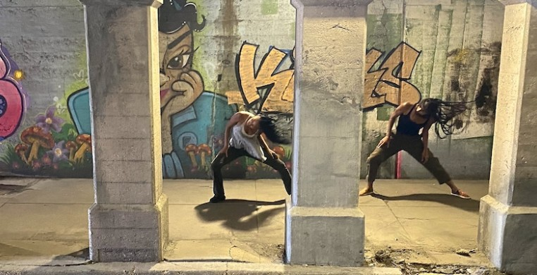"A screen shot from Hubbard Street Dance Chicago's season opener, ""A Tale of Two,"" created by former company member Rena Butler and filmmaker Talia Koylass."