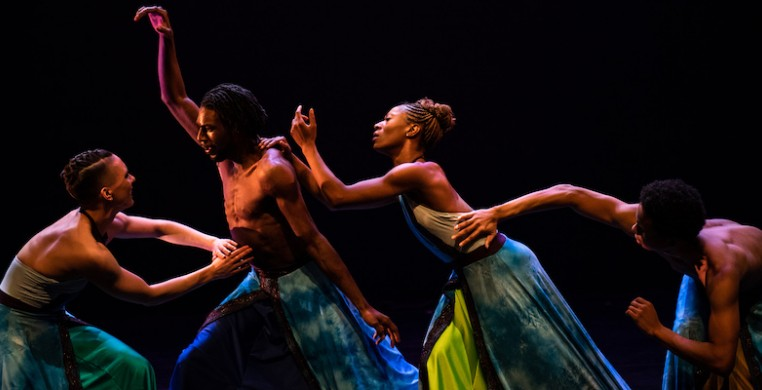 "Deeply Rooted dancers performing ""Heaven,"" part of a celebratory gala marking the company's 25th anniversary. Photo by Michelle Reid"