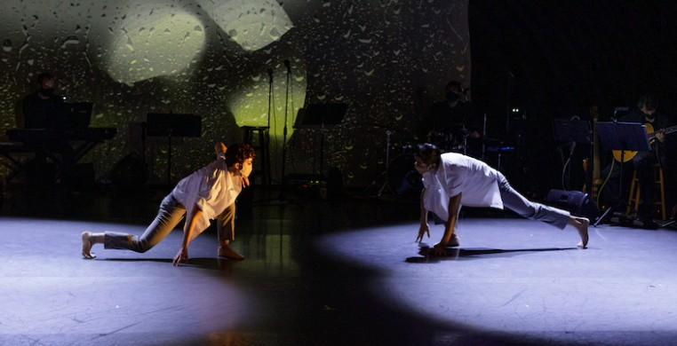 """""""Identity City"""" dancers Shelby Moran Amarantos and Jesse Hoisington with CRDT Jazz Band, costumes by Jordan Ross, lighting by Margaret Nelson, projections by Sim Carpenter; shot during Oct. 2020 livestream, photo by Fernando Rodriguez Photograpy"""