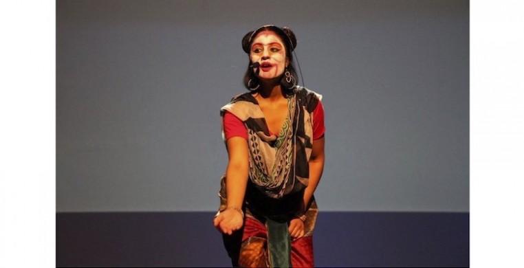 "Mandala Arts associate artistic director Ashwaty Chennat as Hanuman in ""The Story of Ram."" Photo by Monika Bahroos"