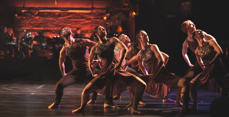 """Root: mwanzo wa milli ni roho"" choreographed by Monique Haley. Dancers (left to right): Fernando Rodriguez, Rachel Spies, Joe Musiel, Shelby Moran, Carson Von Feldt, Kristen Vasilakos. Photo by Leni Manaa-Hoppenworth"