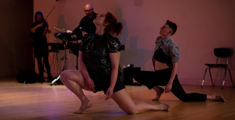 "Chloe Grace Michels (foreground, left) and Andy Slavin, performing Emma Draves' ""With every breath I..."" Danced to live music by Thor Bremer (background, right) and Stephanie Young. Photo by Stephanie Toland Photography"