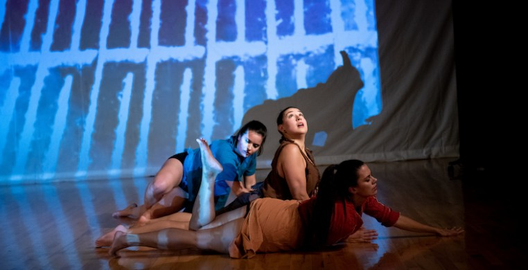 "Shirley Mordine's ""Three Women."" From left, Emily Stepleton, Melissa Pillarella and Danielle Gilmore, photo by Michelle Reid"