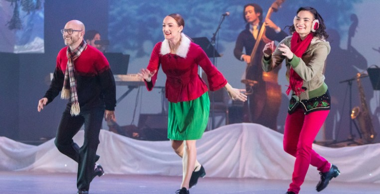 "From left, Mark Yonally, Kirsten Uttich, Kurt Schweitz and Jennifer Yonally in Chicago Tap Theatre's ""Tidings of Tap."" Photo by David Harmantas"
