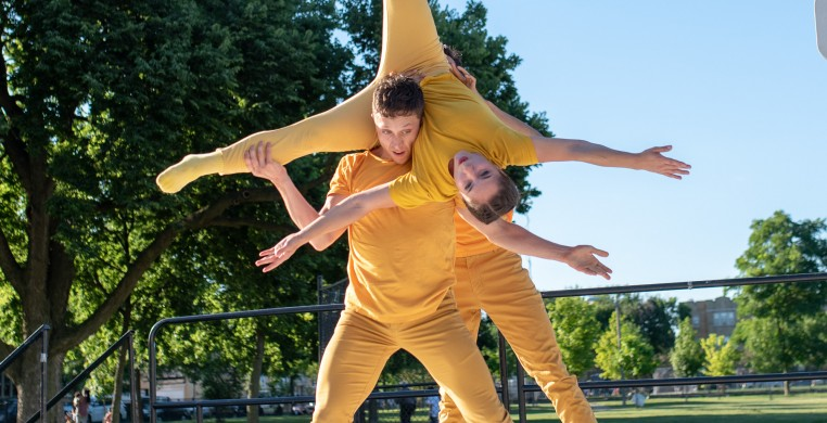 """Brassy"" a trio by Becca Lemme at Kelvyn Park in 2018. Dancers: Jesse Hoisington, Katy Fedrigon, Maxwell Perkins. Photo by Topher Alexander"
