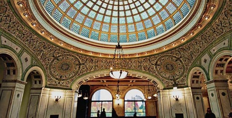 The magnificent Tiffany glass dome in Preston Hall at the Chicago Cultural Center.