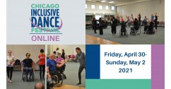 "Four blocks of images and text sit in a rectangle. In the top left corner, ""Chicago Inclusive Dance Festival Online"" is written in stacked blue, teal and purple letters with a purple swooping line weaving through and under the words. In the top right corn"