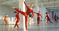 Andrea Weber (center) and fellow dancers of MCDC in DIA: Beacon Event. Photo by Stephanie Berger (2008). Photo courtesy of the Merce Cunningham Trust.
