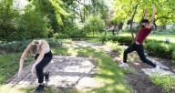 """Summer Smith (left) and Grant Hill, of Winifred Haun & Dancers, in """"Steps in the Garden"""" at Oak Park's Cheney Mansion. Photo courtesy of the artists."""