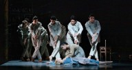 "Yumi Kanazawa and Brooke Linford with the D Men in The Joffrey Ballet's ""Jane Eyre."" Photo by Cheryl Mann"